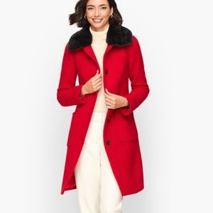 NWOT Talbots Boucle red wool blend coat